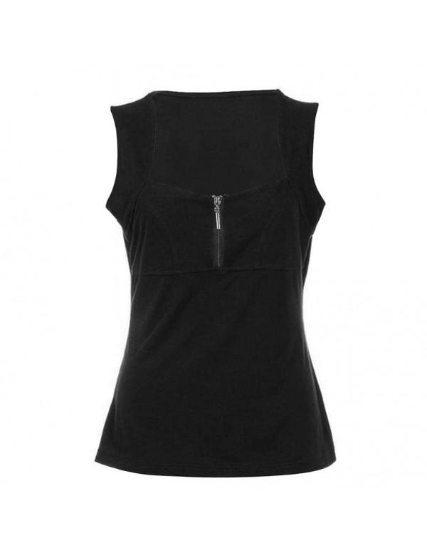 New Sexy Low-Cut Slim Fit T-shirt Sleeveless Tank Top(Black 2XL)
