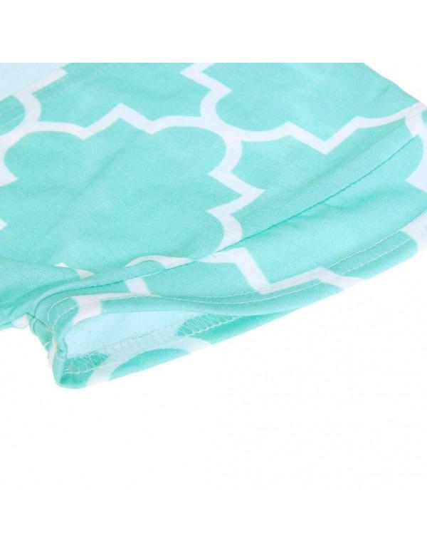 New Tassel Short Sleeve Sun Tops Family Matching Clothes(Green M)