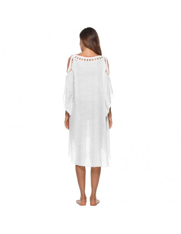 Ethnic Sexy Cold Shoulder Crochet Irregular Swimwear Cover Ups/White
