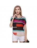 Fashion Chiffon Short Sleeve Stripe Prin...