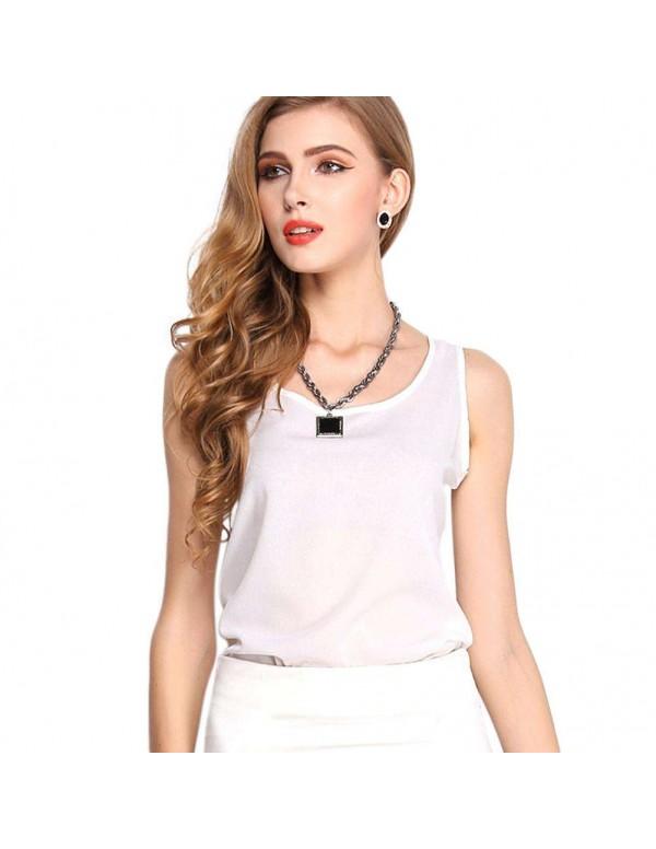 Chiffon Tank Tops Fashion Vest O-Neck Sleeveless T-shirt(White M)
