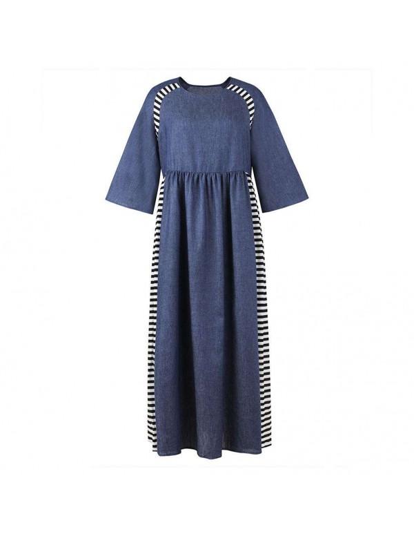 Casual Stripe Denim Muslim Dresses Long Sleeve Hig...