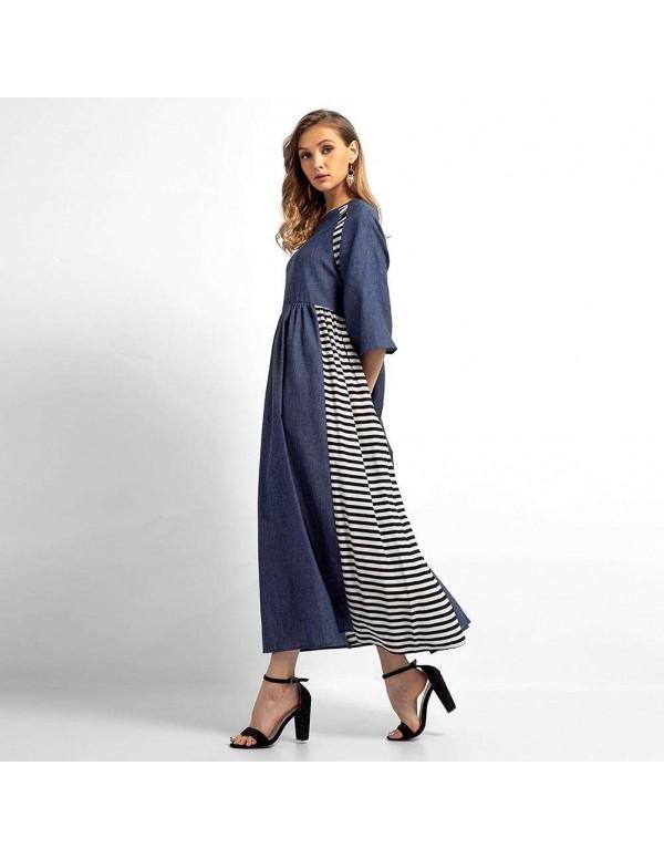Casual Stripe Denim Muslim Dresses Long Sleeve High Waist Clothing