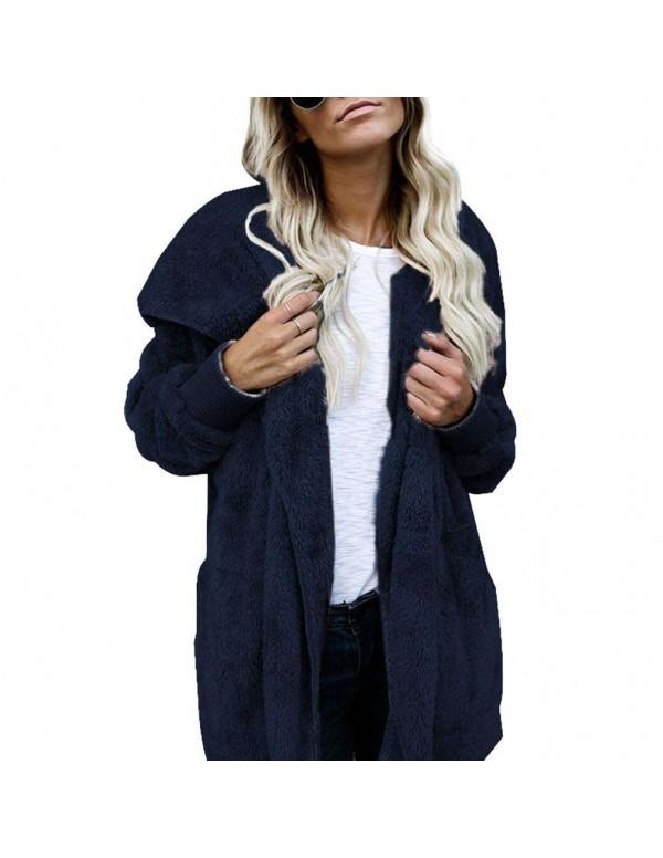 Fleece Jackets Open Front Hooded Cardigan Loose Pockets Coat