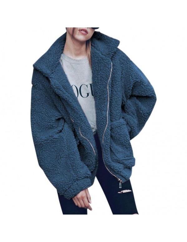 Warm Street Turn Down Collar Coat Fashion Pockets Zipper Jackets
