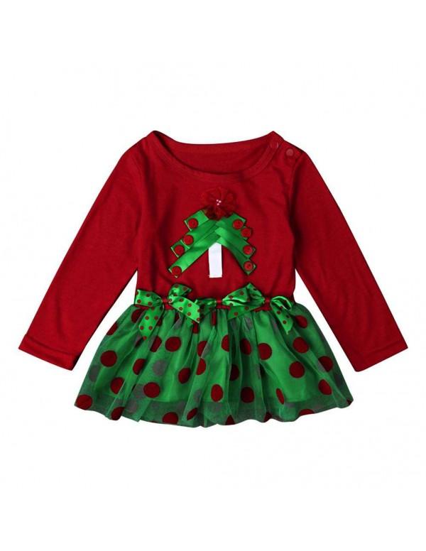 Baby Long Sleeve Girls Christmas Tree Gauze Dress ...