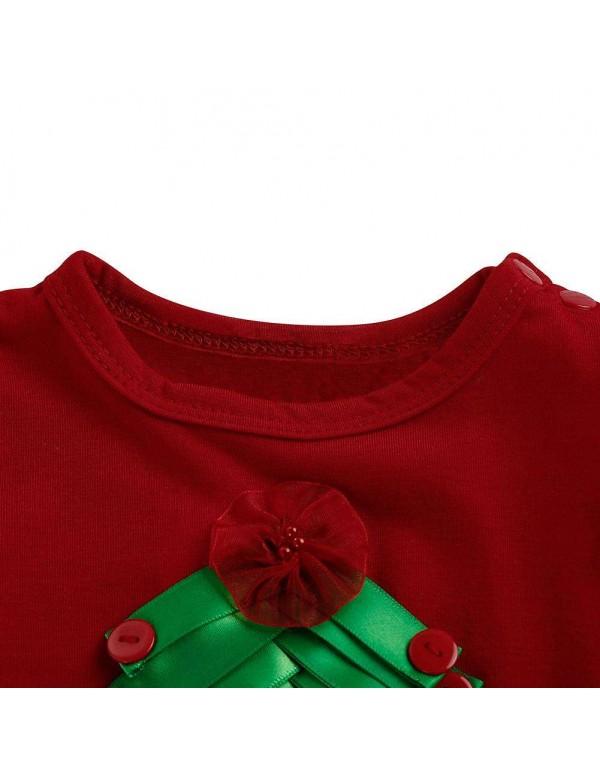 Baby Long Sleeve Girls Christmas Tree Gauze Dress Toddler Stitching Clothes