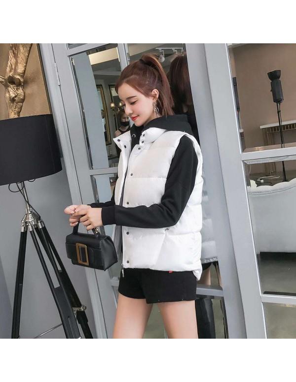 Vest Soft Warm Waistcoat Down Cotton Casual Pockets Outerwear