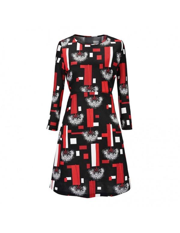Autumn Elegant Geometry Print Midi Dress Long Slee...