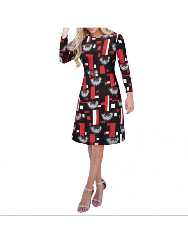 Autumn Elegant Geometry Print Midi Dress Long Sleeve Casual Clothing