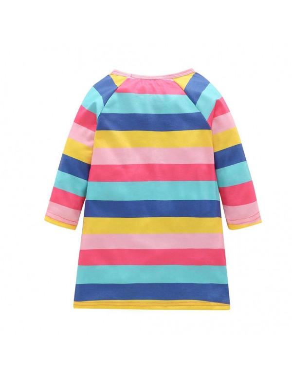 Child Girls Costumes Horse Stripe Print Long Sleeve Dress Children Clothes
