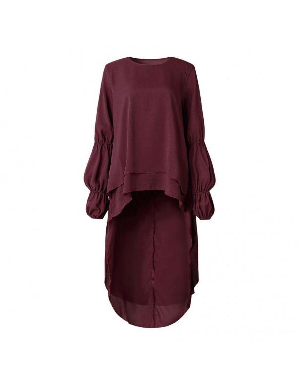 Spring Casual Ruffle Sleeves Irregular Hem Loose Shirt Dress Blouse