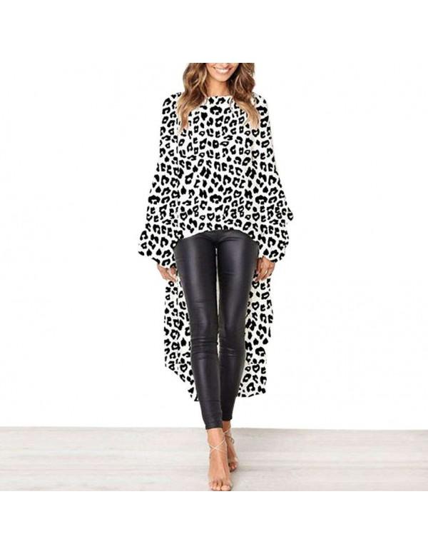 Elegant Leopard Print Ruffle Sleeves Shirt Dress Irregular Hem Tops