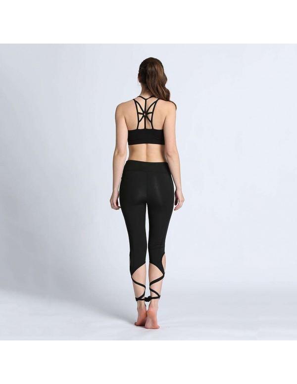 Yoga Pants Ballet Bandage Fitness Running Tights Leggings (Black S