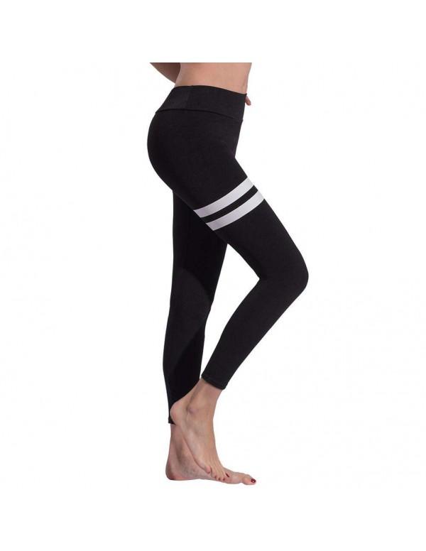 Yoga Pants Sports Elastic Waist Slim Leggings Bottoming Trousers (S)