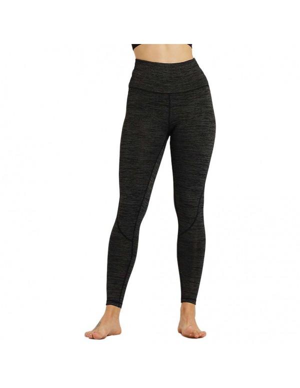 Sexy Sports Yoga Pants High Waist Trousers Stretch Leggings (Black S)