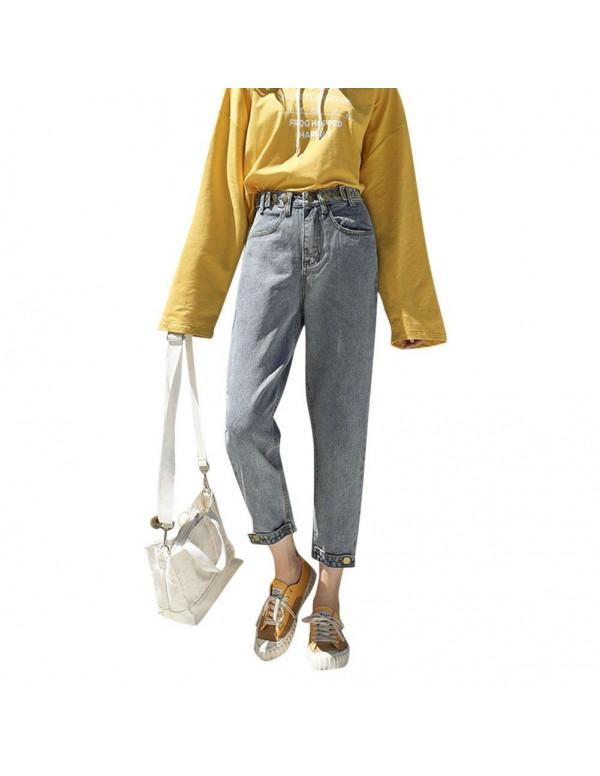 Jeans Casual Denim Pants High Waist Daily Zipper 4/5 Trousers (M)