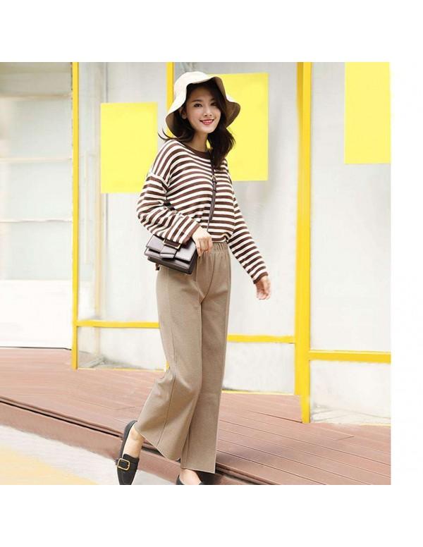 Fashion Wide Leg Pants Loose Woolen Elastic Waist Trousers (Beige M)