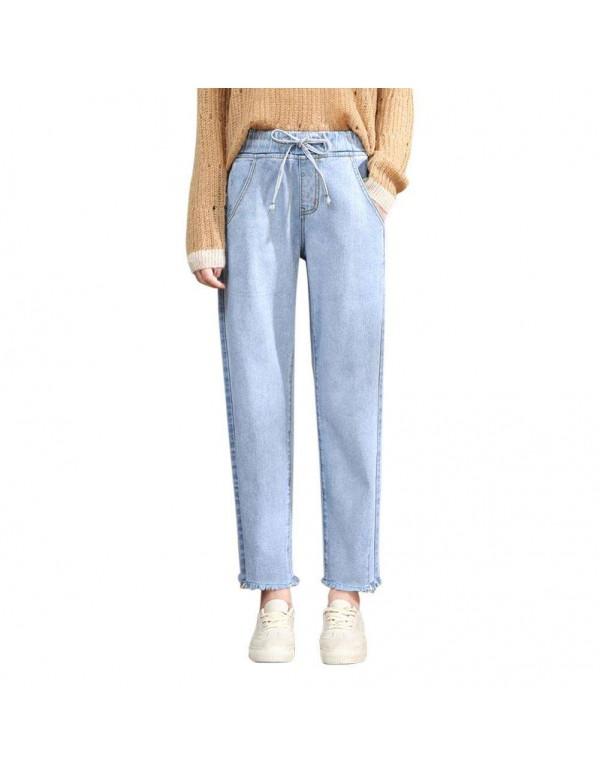 High Waist Jeans Elastic Denim Nine Pants Loose Tr...