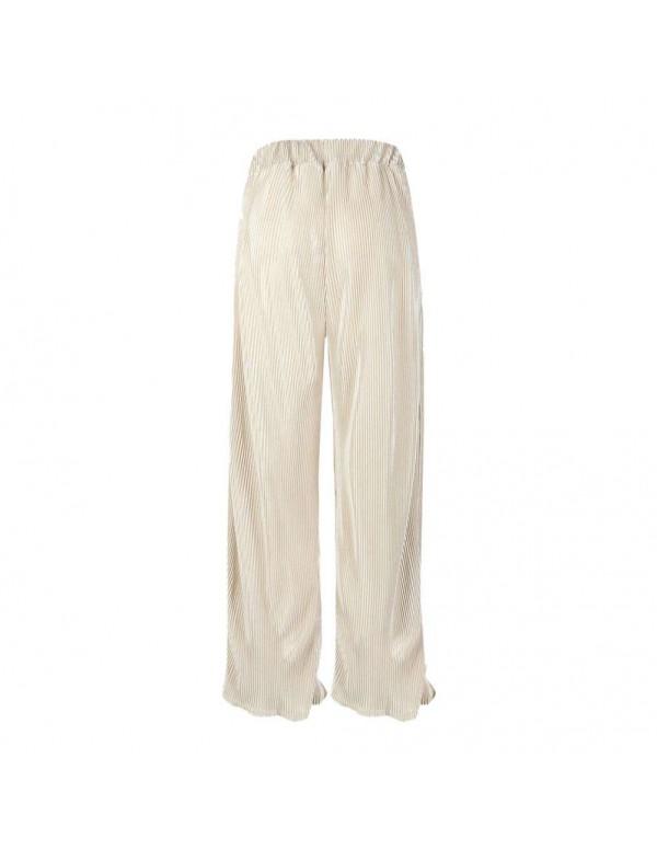 Spring Wide Leg Pants Elastic Waist Pleated Trousers Flare Pants (S)